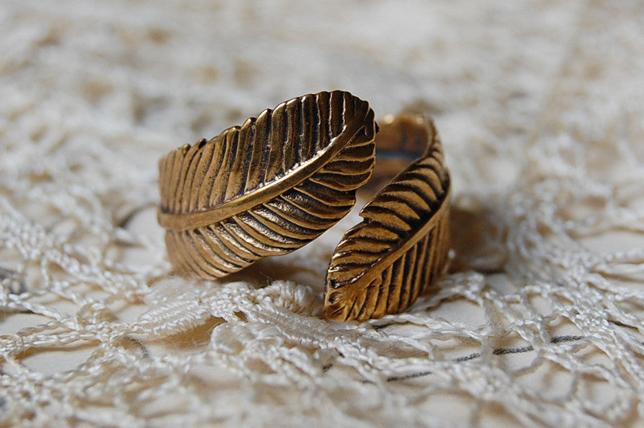 feather bronze ring