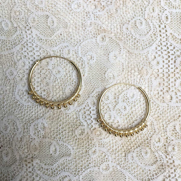 Luana hoops with balls - Gold plated - medium