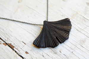 Ginkgo leaf fan necklace (painted bronze)