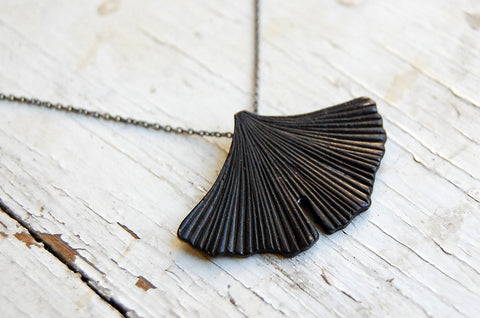 gingko leaf fan necklace (painted bronze)