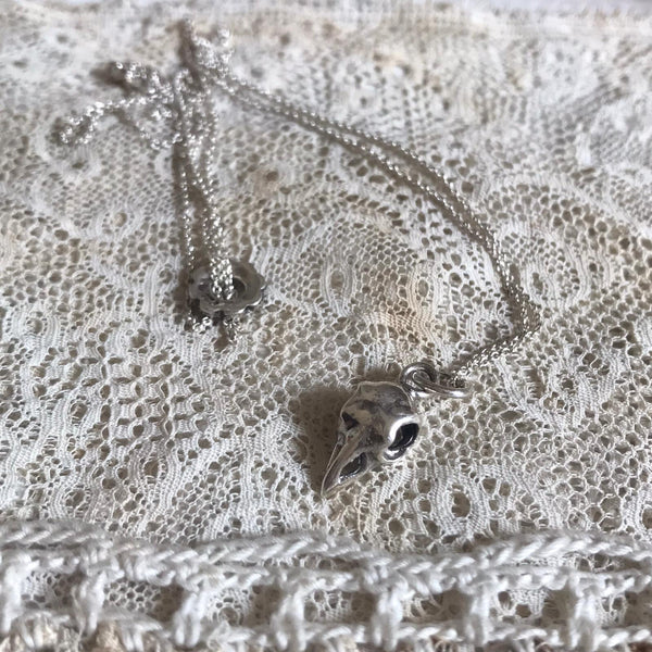 small bird skull necklace - silver