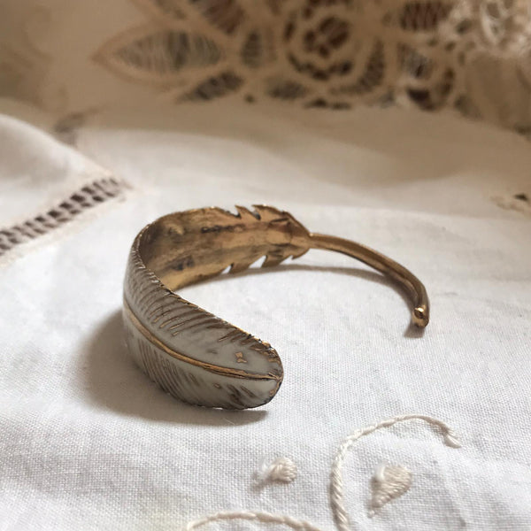 feather bronze bracelet - white enamel