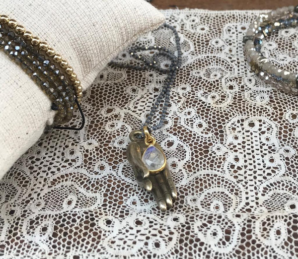 Moonstone | buddha hand and moonstone necklace