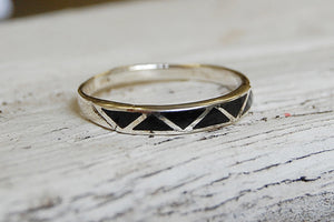 onyx inlayed 925 silver ring