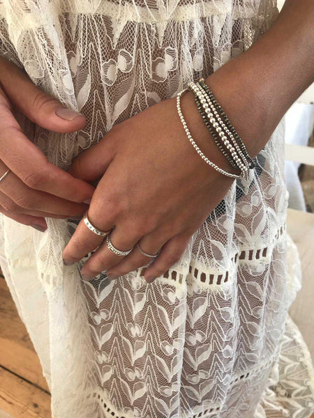 silver ball bracelet - thicker