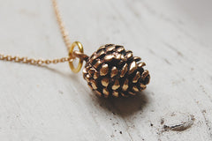 pine cone necklace bronze