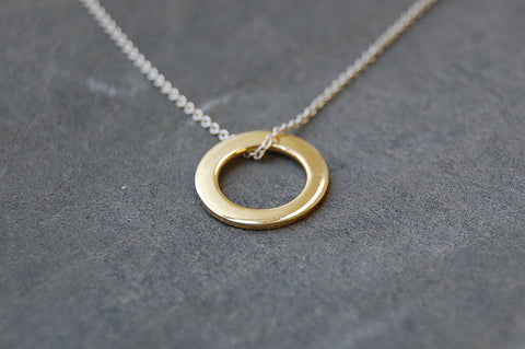circle ring necklace  (gold-plated)