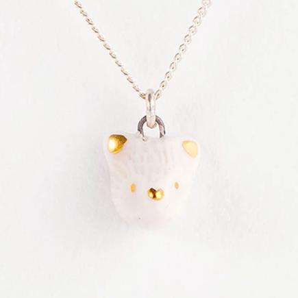 mini grey fox necklace