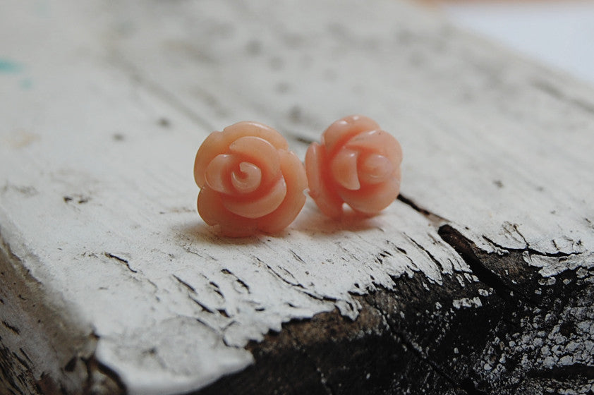 rose coral earstuds | 925 silver