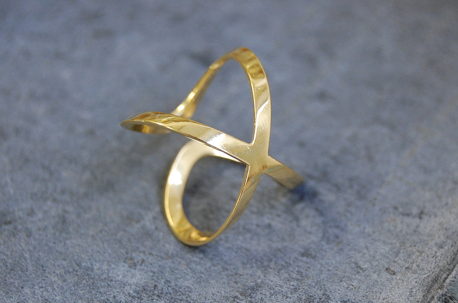 """ Equis "" ring 925 silver - 24 k goldplated"