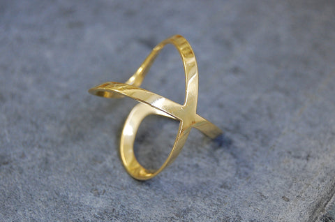 equis ring | 925 silver, 24k gold-plated