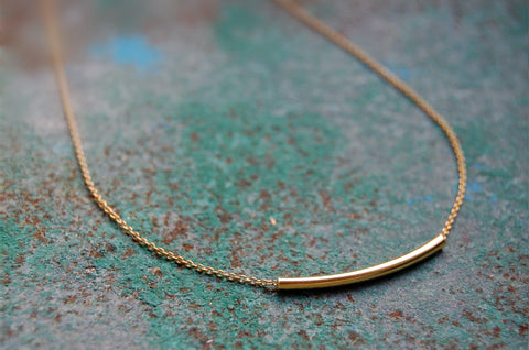 tubular bar necklace (925 silver gold-plated)