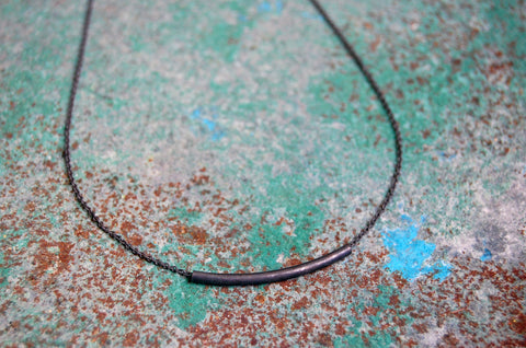 tubular bar necklace (925 silver oxidised)