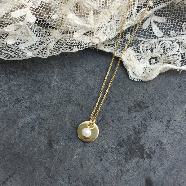'coin & pearl' necklace | 24k gold-plated