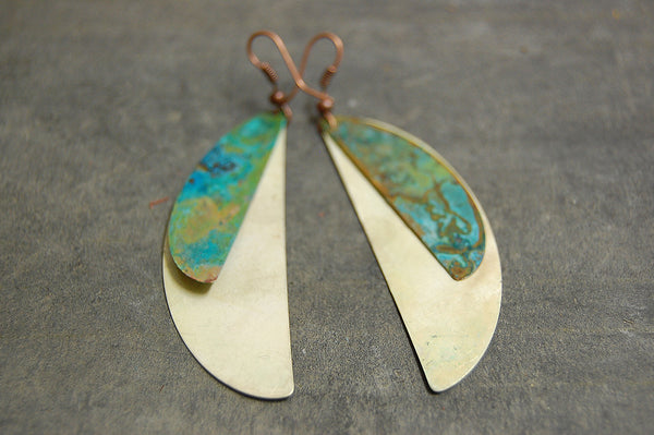 'crescent' earrings 2 | oxidized copper