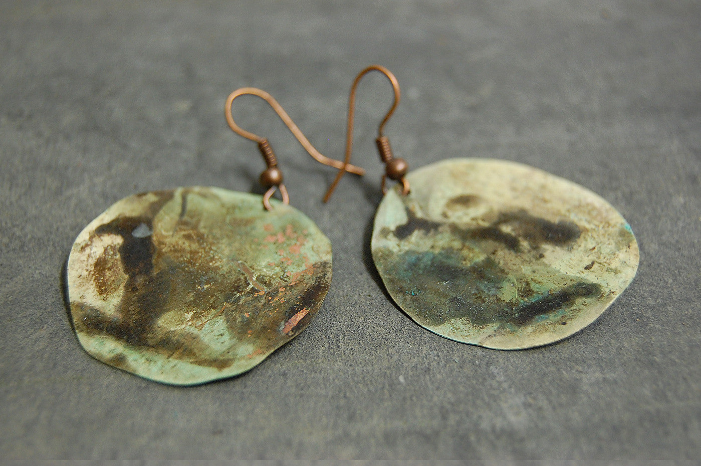 'green coin' earrings | oxidized copper