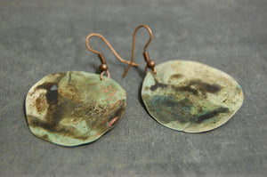 cooper oxidised unique handmade earrings