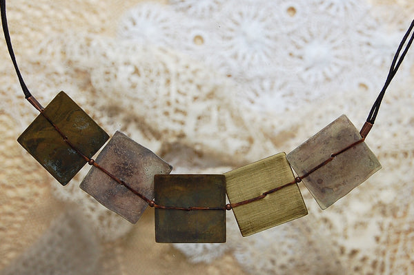 oxidized copper squares necklace