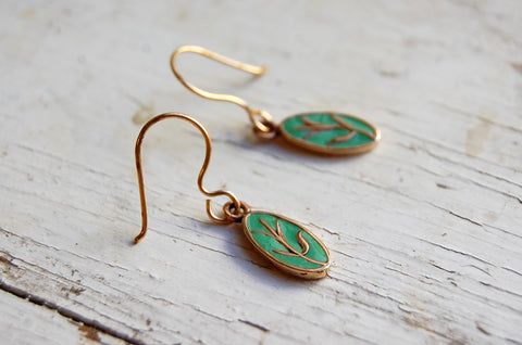 enameled bronze earrings (turquoise)