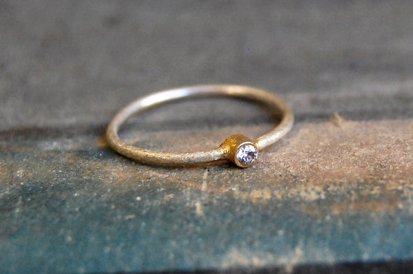 'union' 925 silver ring & gold-plated
