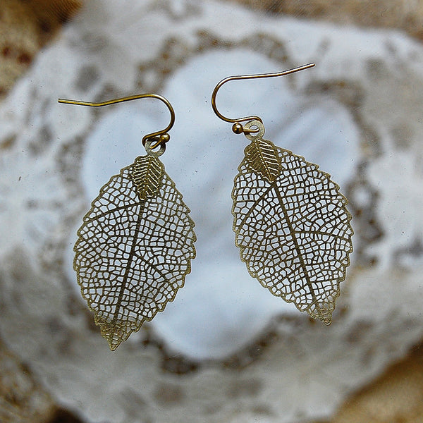 filigree leaf earrings | 24k gold-plated