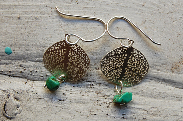 filigree earrings with turquoise stone