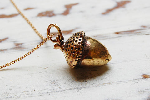 acorn bronze large pendant necklace