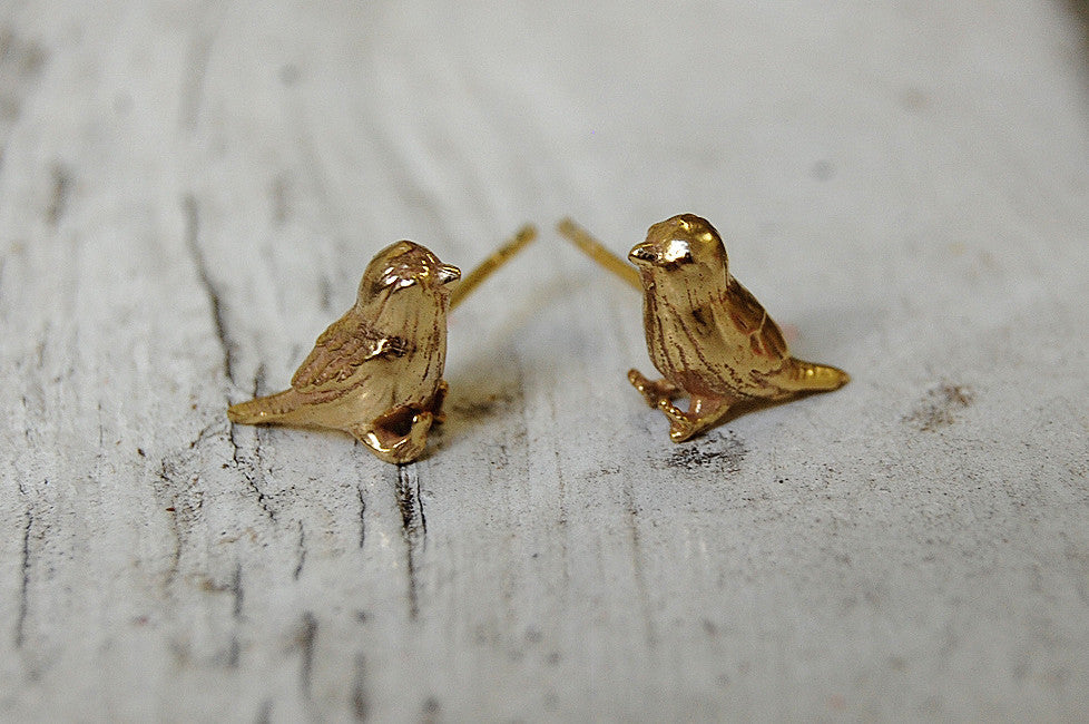 Birds Gold Plated Ear Studs Unico