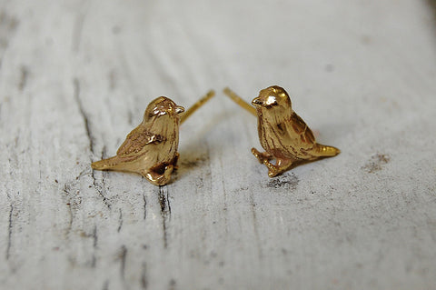 birds gold plated ear studs