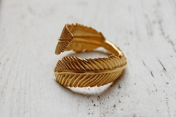 feather gold plated ring