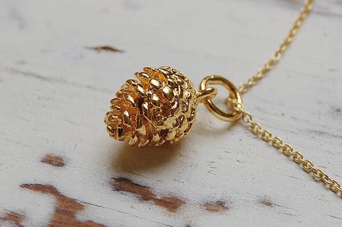 pine cone necklace gold plated