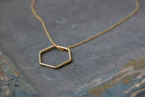 hexagonal ring (gold-plated) necklace