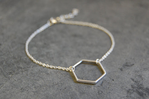 hexagonal ring bracelet 925 silver
