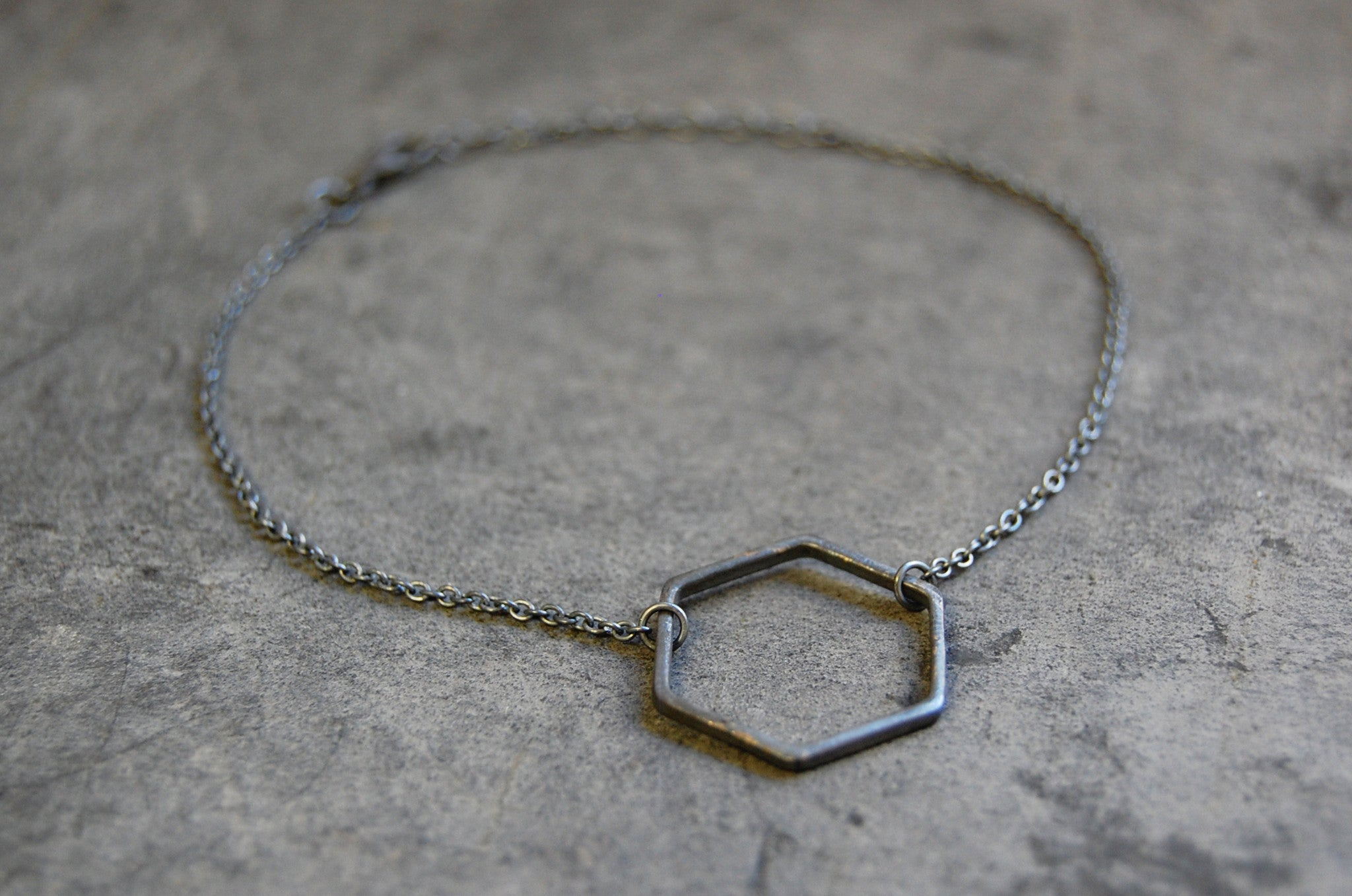 hexagonal ring bracelet oxidised 925 silver