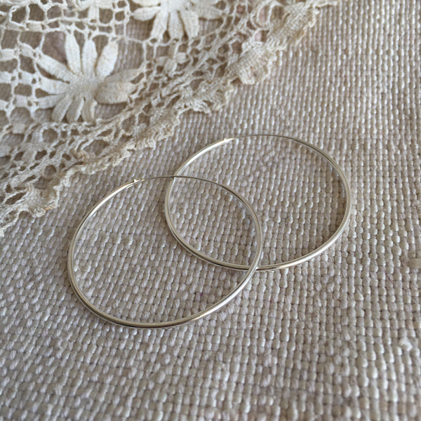 classic hoops - silver - 40mm