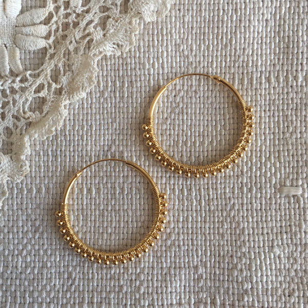 Luana hoops with balls - gold plated - large