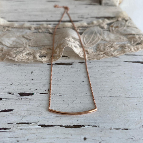 Tubular bar necklace (925 silver - rose gold plated)