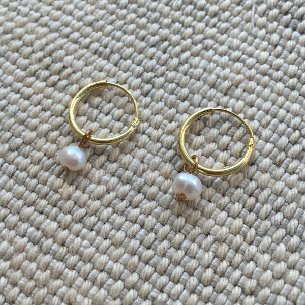 'tiny pearl' hoops | 24k gold-plated | 12mm