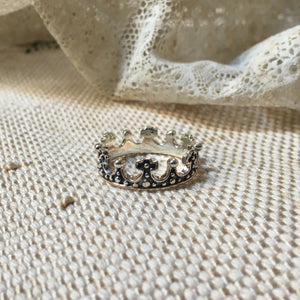 king II crown silver ring