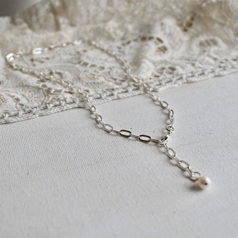 bold chain choker with sweet water pearl - silver