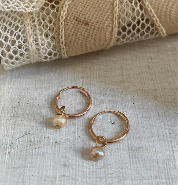 'tiny pearl' hoops | 24k rose gold-plated | 12mm