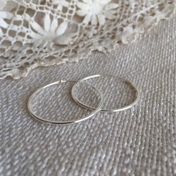 classic hoops - silver - 30mm
