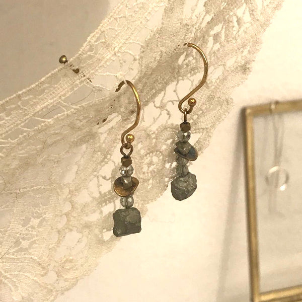 pyrite rock long earrings | 24k gold-plated