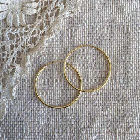 classic hoops - 24k gold plated - 30mm
