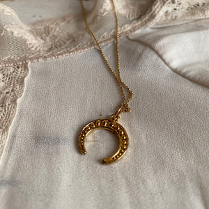 crescent moon necklace / silver 925 - 24 k goldplated