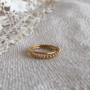 two rings with balls ring - gold plated