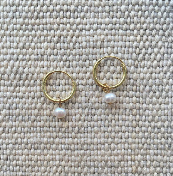 tiny sweet water silver/ 24 k gold plated earrings