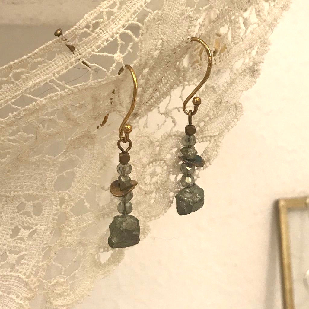 Pyrite rock long earrings