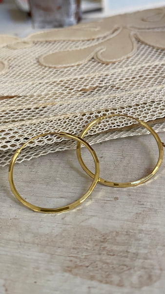 faceted hoops - silver gold plated