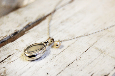 'locket necklace' with sweet water pearl